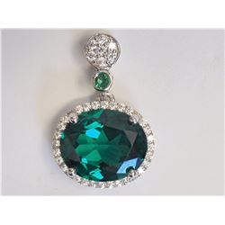 #30-STERLING SILVER CREATED EMERALD &