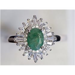 #31-STERLING SILVER EMERALD & CUBIC ZIRCONIA