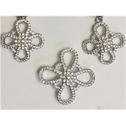 #32-STERLING SILVER CUBIC ZIRCONIA FLOWER