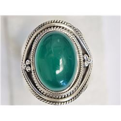 #37-STERLING SILVER GREEN AGATE RING
