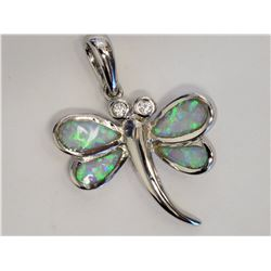 #39-STERLING SILVER CREATED OPAL BUTTERFLY