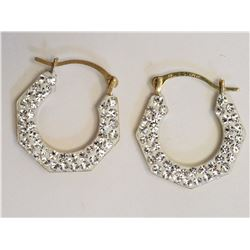 #40-10KT YELLOW GOLD CUBIC CRYSTAL EARRINGS