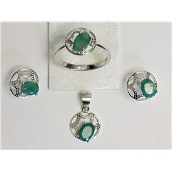 #49-STERLING SILVER EMERALD SET WITH