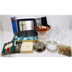 FLAT OF MISCELLANEOUS INCLUDING GLASSES, WALLETS,