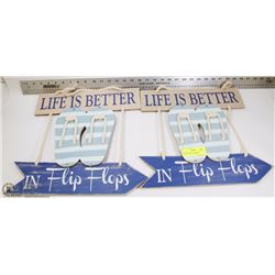 "LOT OF 2 RUSTIC SIGNS WITH QUOTES -""LIFE IS BETTER"