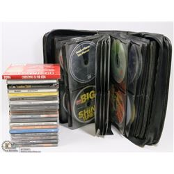 BOX W/OVER 85 MUSIC CDS & LEATHER CARRY