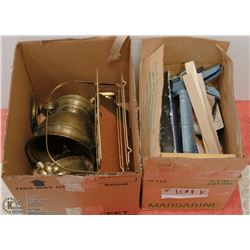 TWO BOXES OF ESTATE ITEMS INCLUDING BRASS ITEMS,