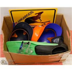 LARGE BOX W/SUMMER SPORTING GOODS