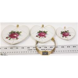 VINTAGE JAPANESE HEART SHAPE PLATES SOLD WITH