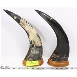 SET OF HAND CARVED BULL HORNS