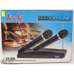 NEW K & K WIRELESS MICROPHONE AND RECEIVER KIT