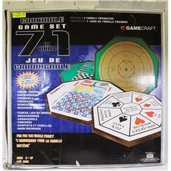 NEW CROKINOLE GAME SET 7 INCL CHESS, CHECKERS,