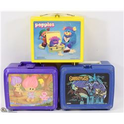 VINTAGE SET OF 3 PLASTIC LUNCH BOXES TROLLS,