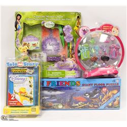 SET OF 4 KIDS ITEMS BARBIE PEEK A BOO, TINKERBELLE