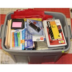 LARGE TOTE OF ASST OFFICE SUPPLIES AND STATIONARY
