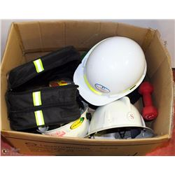 BOX OF HARD HATS AND ASSORTED SAFETY GEAR