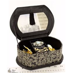 BLACK AND GOLD JEWELRY BOX FILLED WITH BROOCHES