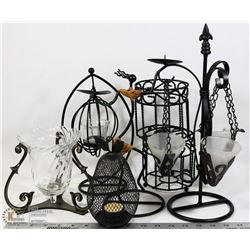 BOX OF WROUGHT IRON DECORATIVE CANDLE HOLDERS