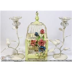 COUNTRY CHIC DECORATIVE BIRD CAGE WITH PAIR OF