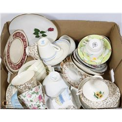 BOX OF ASST TEA CUPS AND PLATES