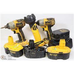 DEWALT 18V SET- 2 IMPACT DRILLS, 4 BATTERIES,
