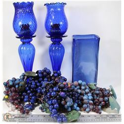 BOX OF BLUE GLASS & GRAPES