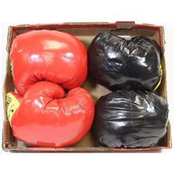 FLAT W/2 SETS OF BOXING GLOVES - 1 RED &