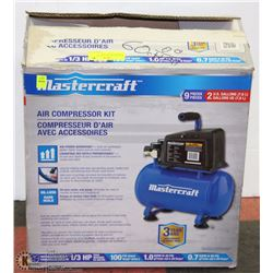 MASTERCRAFT 9PC 2GAL AIR COMPRESSOR KIT 1/3HP