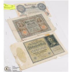 LOT OF 3 GERMAN BANK NOTES INCL 20 MARKS 1914, 100
