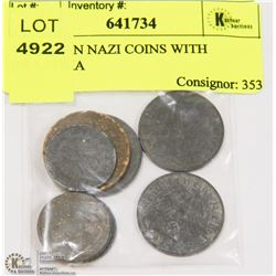 8 GERMAN NAZI COINS WITH SWASTIKA