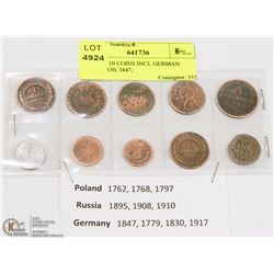 LOT OF 10 COINS INCL GERMAN (1779, 1830, 1847,