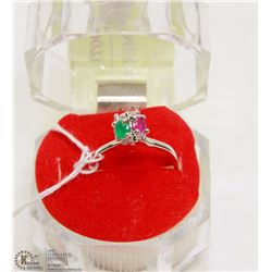 #14- RED RUBY, EMERALD,CZ RING