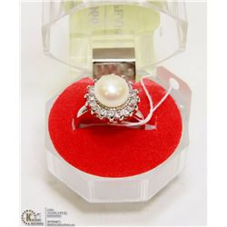 #7-FRESH WATER PEARL & CZ RING