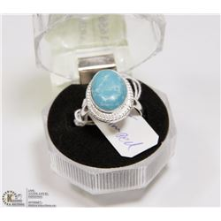 #12-CARRIBAN LARIMAR GEMSTONE RING