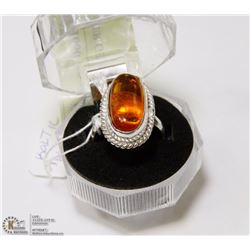 #16-BALTIC AMBER GEMSTONE RING