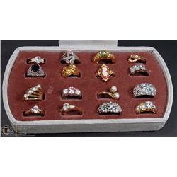 LOT OF 16 LADIES FASHION RINGS