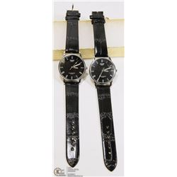 LOT OF 2 SWIDU WATCHES WITH BLACK STRAPS