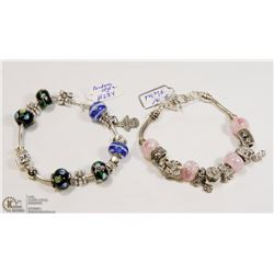 2PC ASSORTED COLOR PANDORA STYLE BRACELETS