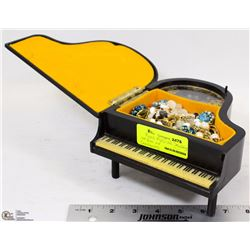PIANO MUSICAL JEWELRY BOX WITH CONTENTS