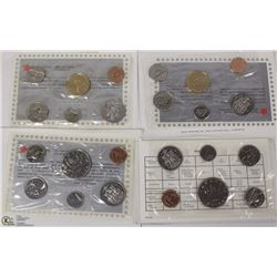 LOT OF 4 PROOFLIKE COINS SETS, 1984, 1987, 1988 &