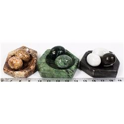 FLAT OF STONE EGGS AND HOLDERS