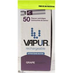 50 VAPUR RECHARGEABLE GRAPE FLAVOUR CARTRIDGES