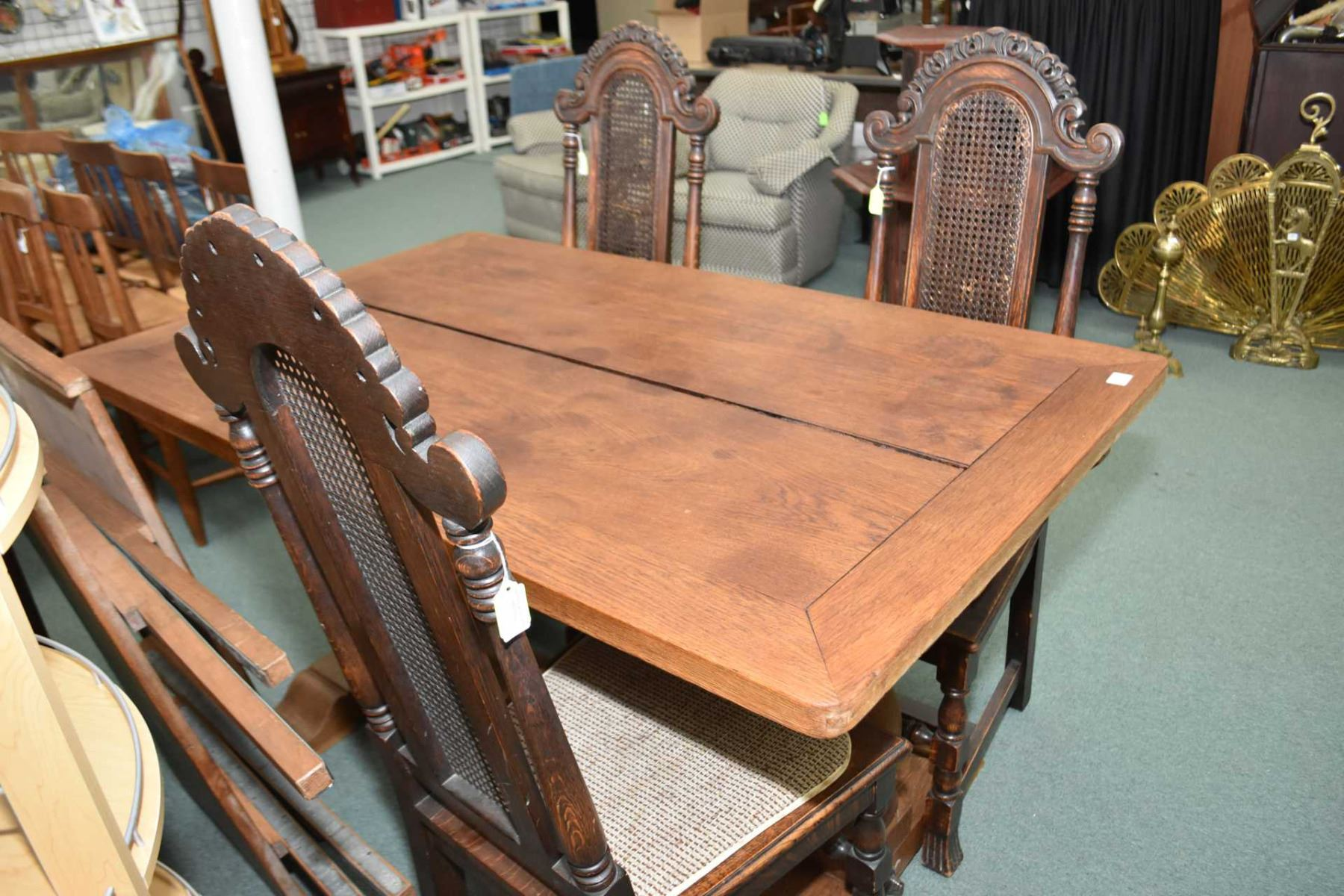 Image 1 : Antique Oak Harvest Table With Two Large End Leaves Plus Three  Antique Oak ...