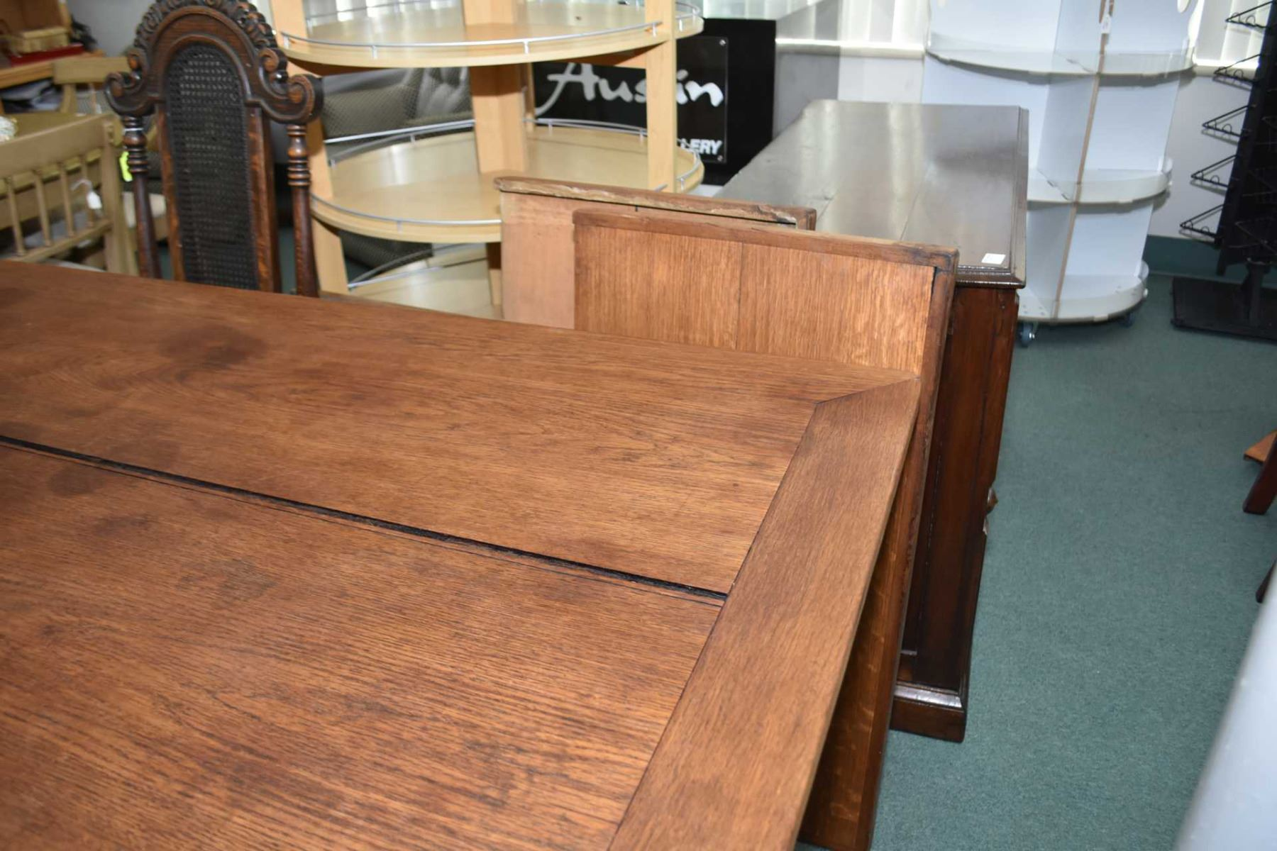 Charmant ... Image 2 : Antique Oak Harvest Table With Two Large End Leaves Plus  Three Antique Oak
