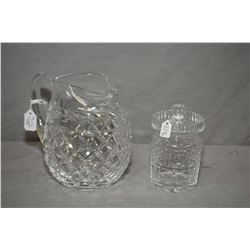 "Two pieces of Waterford crystal including a lidded mustard pot and a 6"" high handled pitcher"