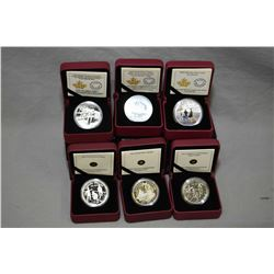 Six Royal Canadian Mint boxed proof coins including 2016 150th Anniversary of the Transatlantic cabl