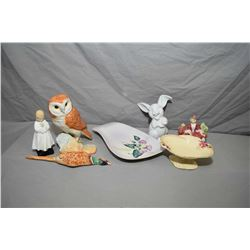 Selection of collectibles including Beswick Owl 1046, Beswick wall mount bird 661/2, two Royal Doult
