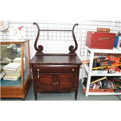 Antique two door, single drawer harp back washstand