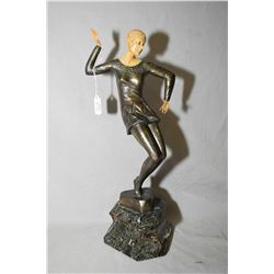 "Art Deco bronze statuette of a dancing girl on onyx base 15"" in height, signed by artist Ferdinand P"