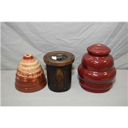 Two unusual Medalta pottery lamp vases including one beehive shaped and a log motif humidor